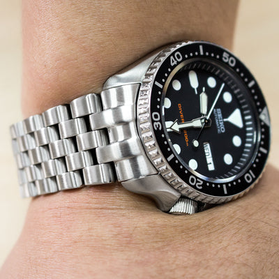 22mm Super Engineer Solid Stainless Steel for SEIKO Diver SKX007/009/011, Brushed, Solid Submariner Clasp