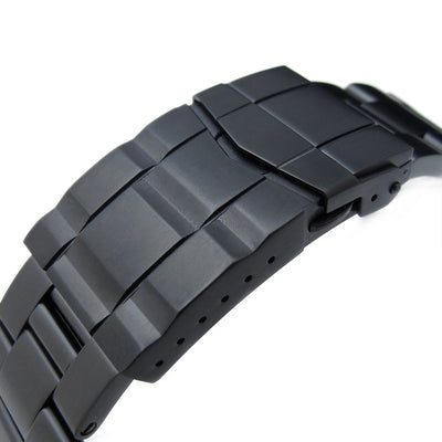 22mm Super-O Boyer Solid Stainless Steel Straight End Watch Band, Solid SUB Clasp, PVD Black