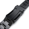 22mm Super Oyster Solid Stainless Steel Straight End Watch Band, Solid Submariner Clasp, PVD Black