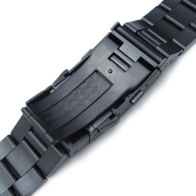 22mm Super Oyster Solid Stainless Steel Straight End Watch Band, Diver Wetsuit Ratchet Buckle, PVD Black