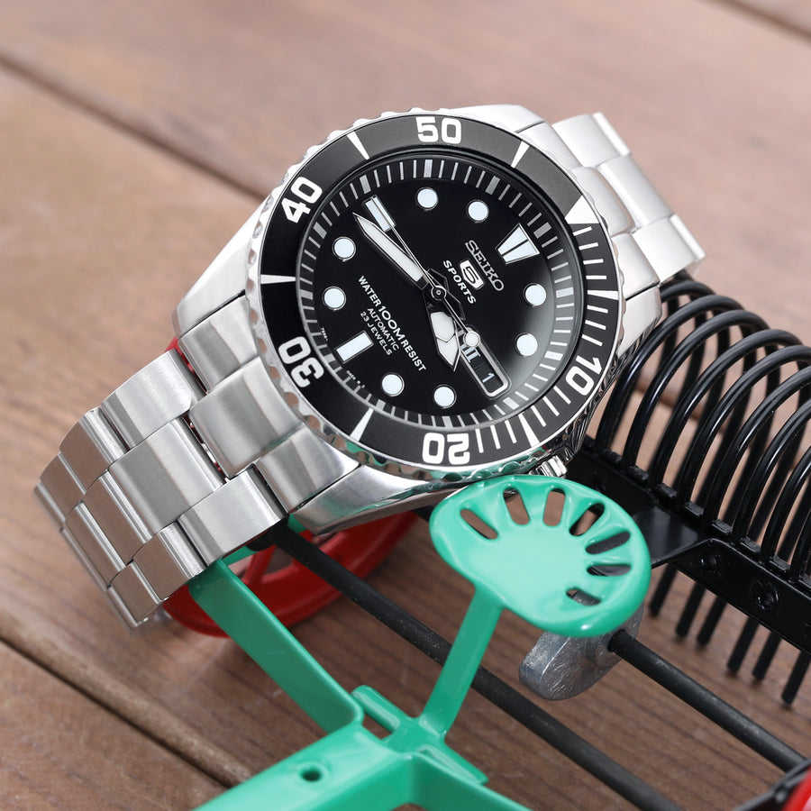 22mm Super-O Boyer Watch Bracelet for SEIKO SNZF17 Sea Urchin, Button Chamfer, Brushed