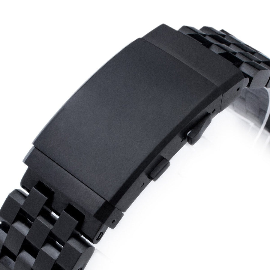 19mm, 20mm or 21mm Super Engineer II Solid SS Straight End Watch Band, Wetsuit Ratchet Clasp, PVD Black