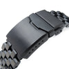 19mm, 20mm, 21mm, 22mm or 23mm Super Engineer II Solid SS Straight End Watch Band, Button Chamfer, PVD Black - Strapcode