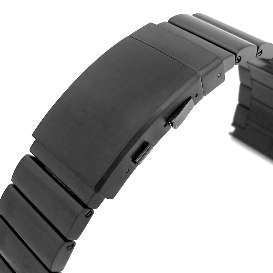 24mm Bandoleer 316L Straight End PVD Black Stainless Steel Watch Band Divers Extension Clasp