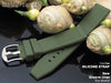 22mm Groove Lines Military Green Silicone Soft Watch Strap on 316L SS Polished Buckle - Strapcode