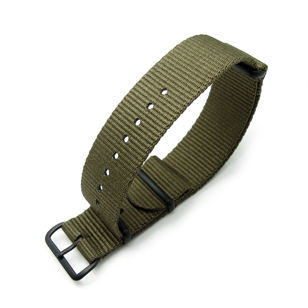 Nato 20mm 21mm or 22mm Heat Sealed Heavy Nylon PVD Black Buckle Military Green Strapcode Watch Bands
