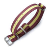 MiLTAT 18mm G10 military watch strap ballistic nylon armband Brushed Burgundy Red & Yellow Stripes Strapcode Watch Bands