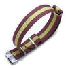 MiLTAT 18mm G10 military watch strap ballistic nylon armband, Polished - Burgundy Red & Yellow Stripes Strapcode Watch Bands