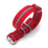 MiLTAT 20mm Zulu military watch strap ballistic nylon armband Brushed Red & Grey Strapcode Watch Bands