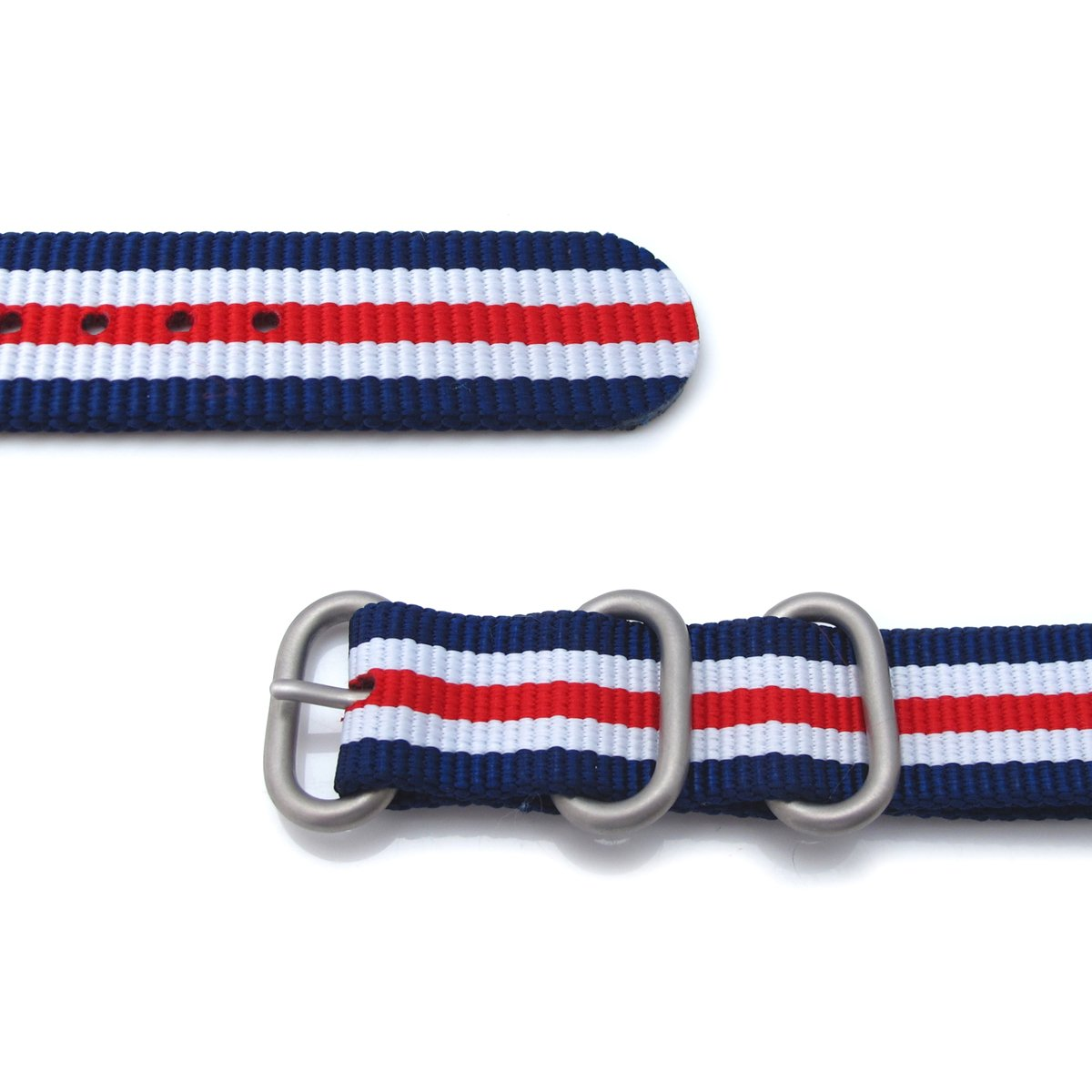 MiLTAT 20mm Zulu military watch strap ballistic nylon armband Brushed Blue White Red Strapcode Watch Bands