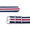 MiLTAT 18mm or 22mm G10 military watch strap ballistic nylon armband Sandblasted Navy White & Red Strapcode Watch Bands