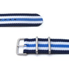 MiLTAT 20mm G10 military watch strap ballistic nylon armband Brushed Blue & White Stripes Strapcode Watch Bands
