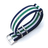 MiLTAT 20mm G10 military watch strap ballistic nylon armband Polished Blue White & Green Strapcode Watch Bands