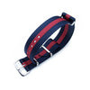 MiLTAT 20mm G10 NATO Bullet Tail Watch Strap Ballistic Nylon Blue & Red Polished Strapcode Watch Bands