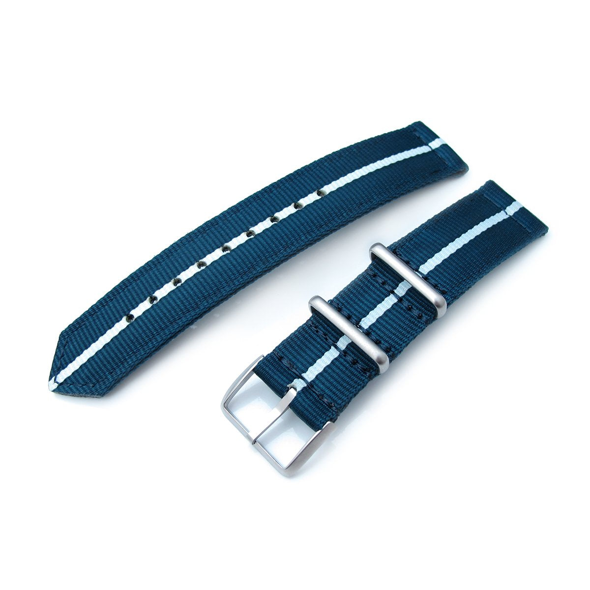 20mm Two Piece WW2 G10 Nylon Navy Blue & White Brushed Buckle Strapcode Watch Bands