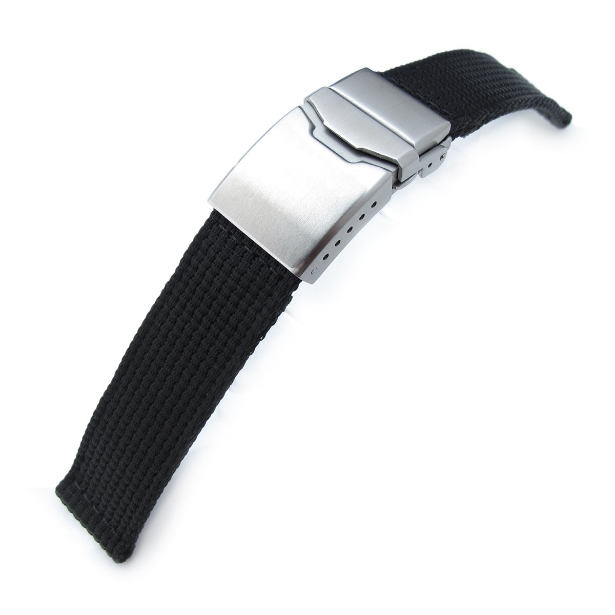 22mm MiLTAT 3D Nylon Black Watch Strap Brushed Button Chamfer Clasp Strapcode Watch Bands