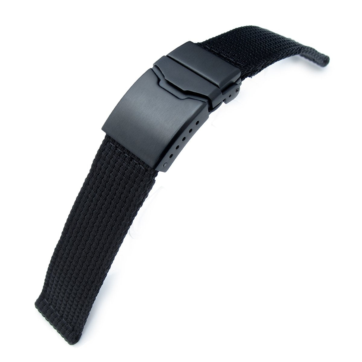 20mm or 22mm MiLTAT 3D Nylon Black Watch Strap Brushed Button Chamfer Clasp, PVD Black
