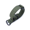 20mm MiLTAT Canvas G10 military watch strap military color with lockstitch round hole Forest Green PVD Black Strapcode Watch Bands