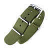 NATO 18mm or 20mm G10 Military Watch Band Nylon Strap Military Green Polished 260mm Strapcode Watch Bands