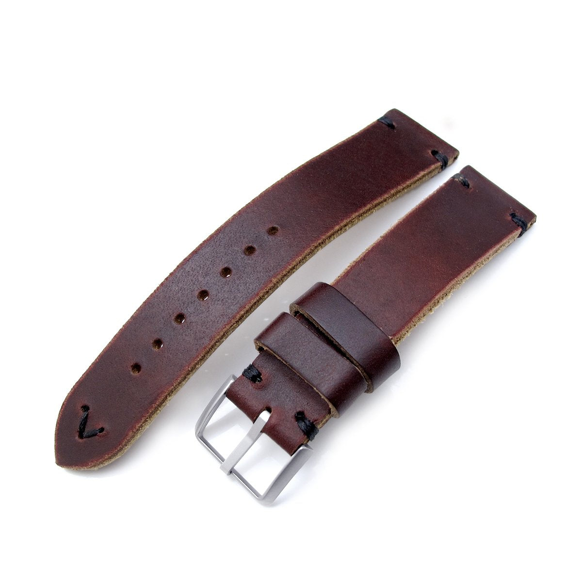 20mm 22mm MiLTAT Horween Chromexcel Watch Strap Burgundy Brown Black Stitching Strapcode Watch Bands