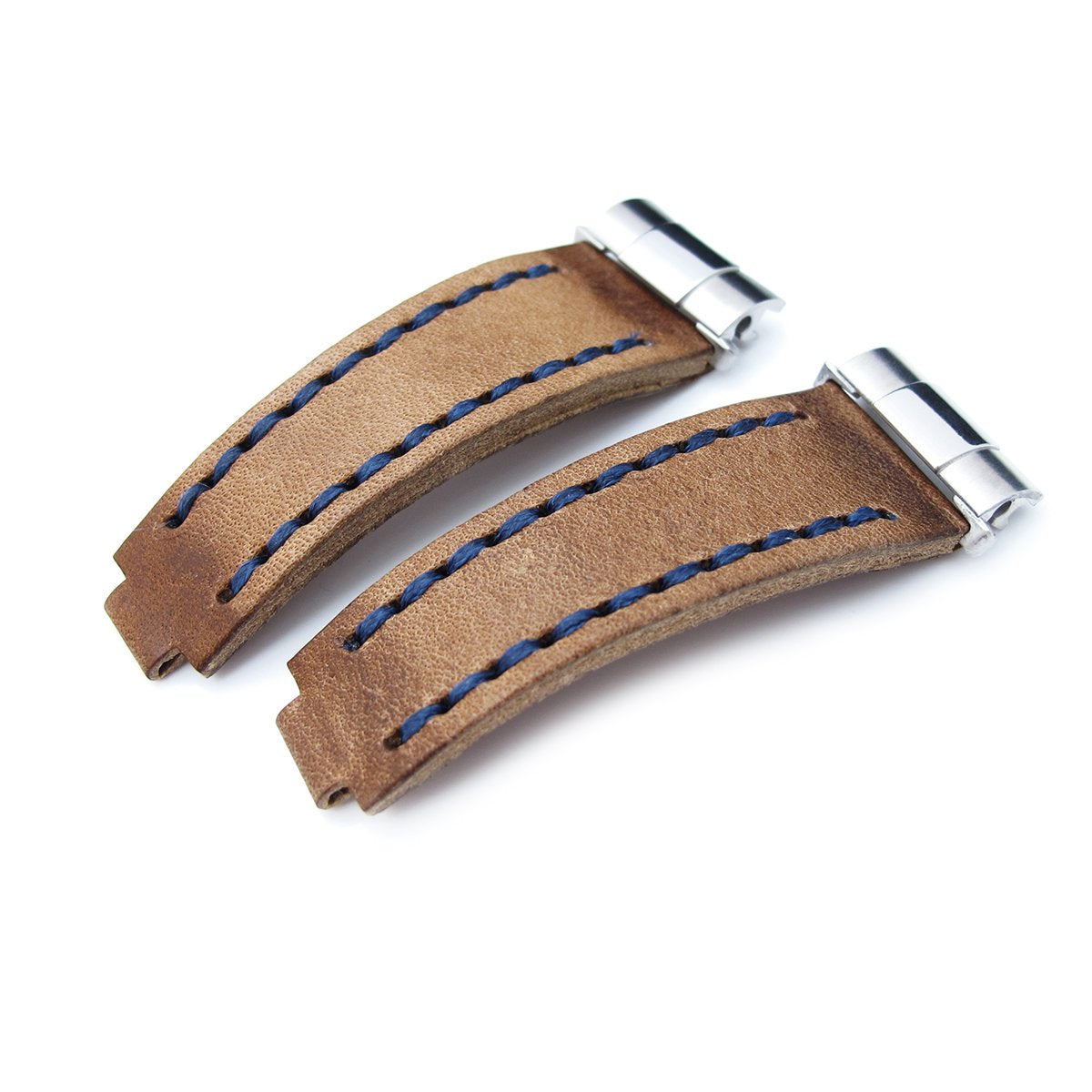 Revenge End Link Replacement Watch Strap Tailor-made for RX Matte Brown Pull Up Leather Blue St. Strapcode Watch Bands