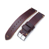 20mm 22mm MiLTAT Horween Chromexcel Watch Strap Burgundy Brown Brown Stitching Strapcode Watch Bands