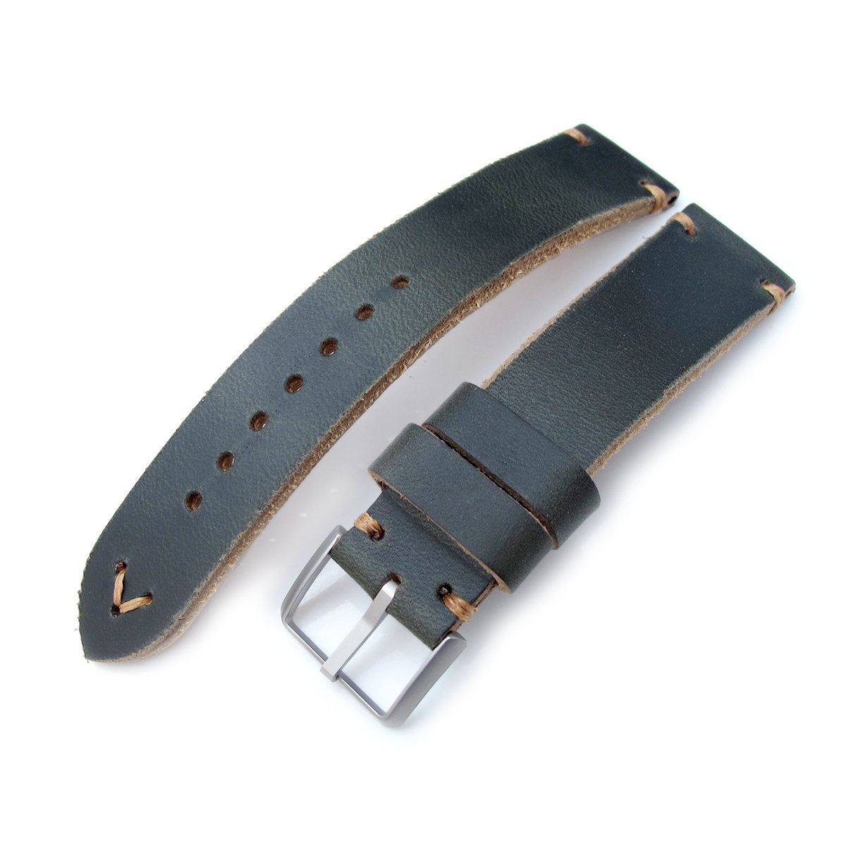 20mm 22mm MiLTAT Horween Chromexcel Watch Strap Blackish Green Brown Stitching Strapcode Watch Bands