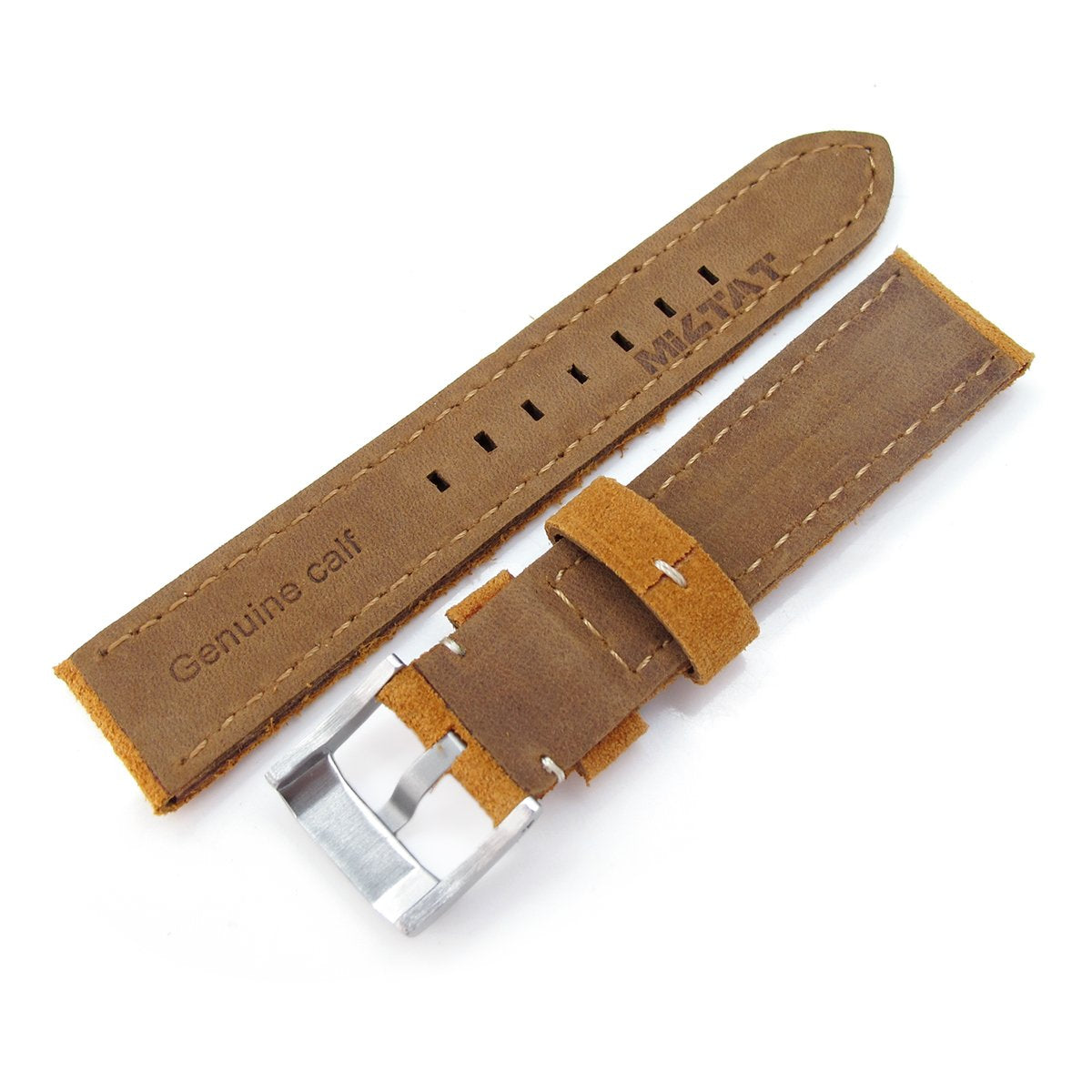 20mm 21mm MiLTAT Camel Brown Nubuck Leather Watch Band Beige Stitching Strapcode Watch Bands