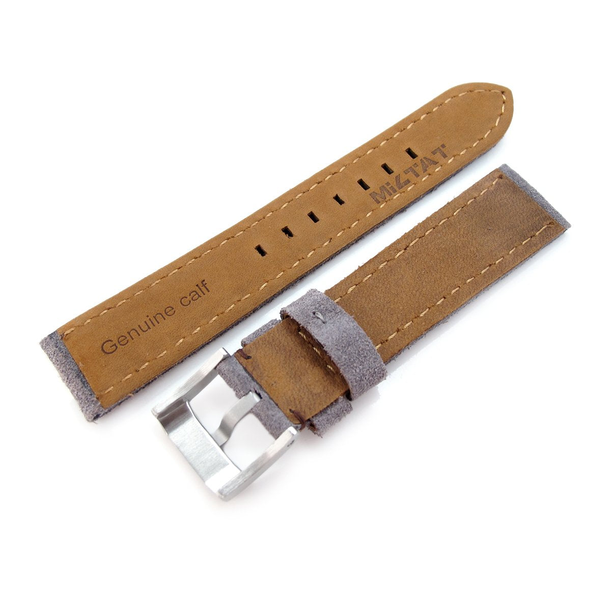 20mm 21mm MiLTAT Light Grey Nubuck Leather Watch Band Brown Stitching Strapcode Watch Bands