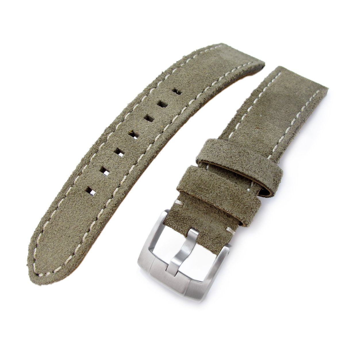 20mm 21mm MiLTAT Military Green Nubuck Leather Watch Band Beige Stitching Strapcode Watch Bands