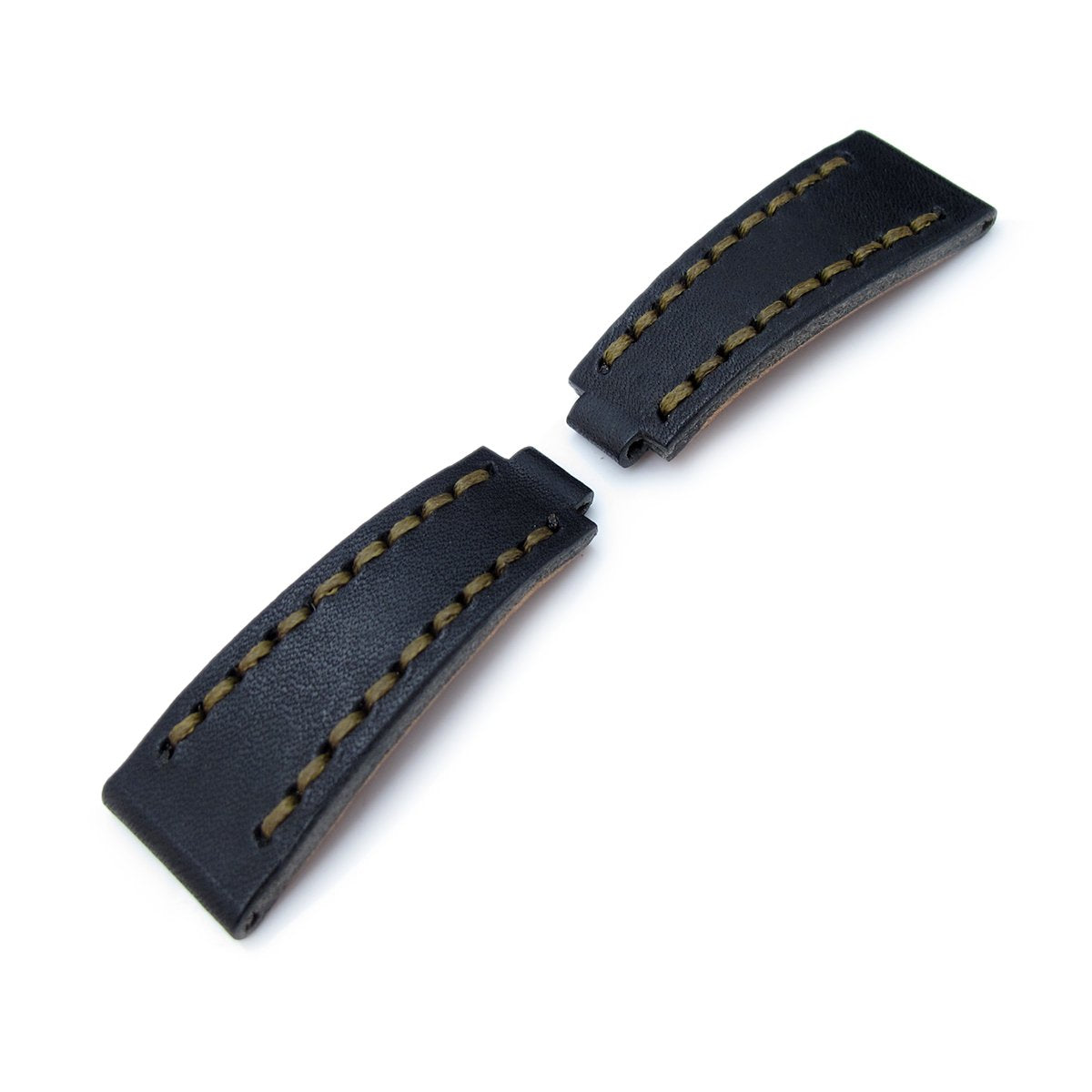 20mm MiLTAT RX Collection Watch Strap NERO Black Genuine Calf Green St. Tailor-made for RX SUB & EXP Strapcode Watch Bands