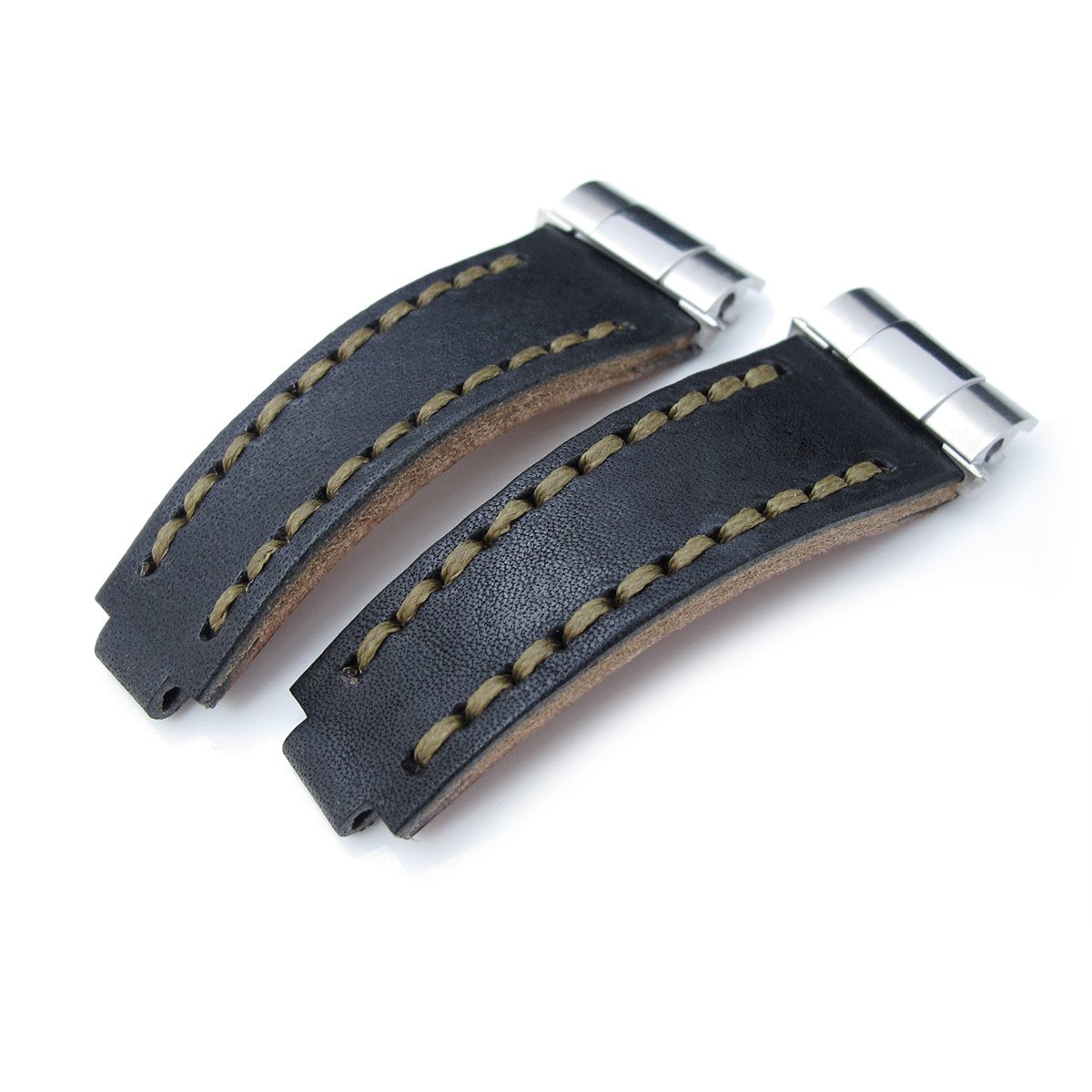 Revenge End Link Replacement Watch Strap Tailor-made for RX Matte Black Pull Up Leather Military Green St. Strapcode Watch Bands