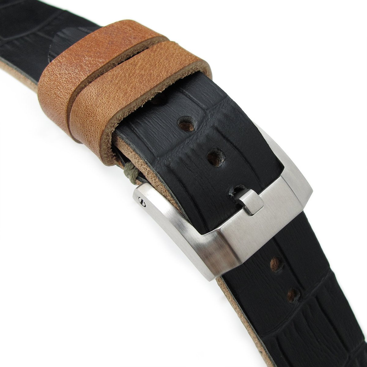 20mm MiLTAT Antipode Watch Strap Matte Black CrocoCalf in Grey Hand Stitches Strapcode Watch Bands