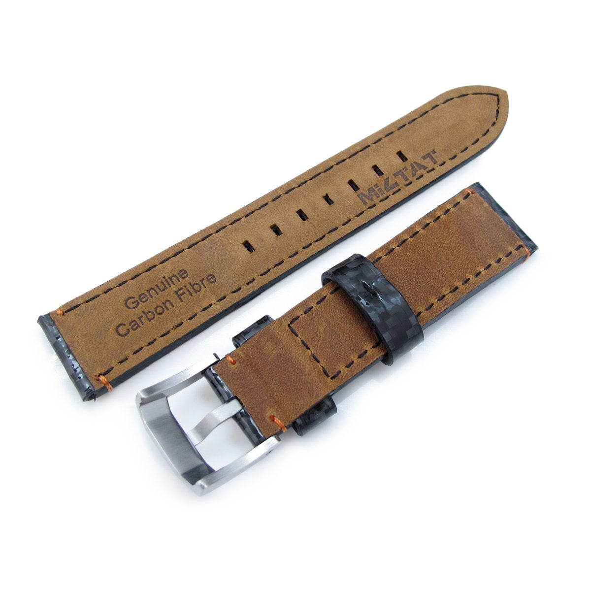 20mm 21mm MiLTAT Glossy Genuine Carbon Fiber Watch Band Orange Stitching XL Strapcode Watch Bands