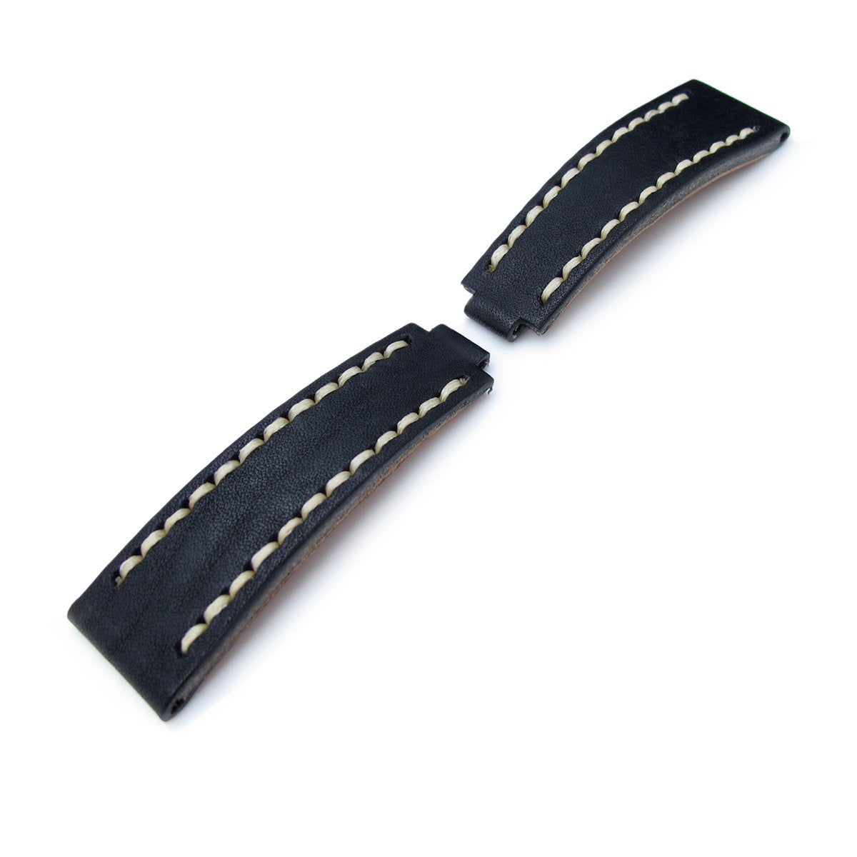 20mm MiLTAT RX Collection Watch Strap NERO Black Genuine Calf Beige St. Tailor-made for RX SUB & EXP Strapcode Watch Bands
