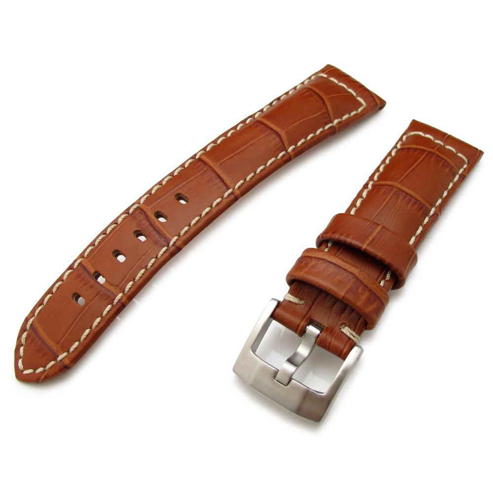20mm 23mm 24mm CrocoCalf (Croco Grain) Matte Borwn Watch Strap with Beige St. Strapcode Watch Bands