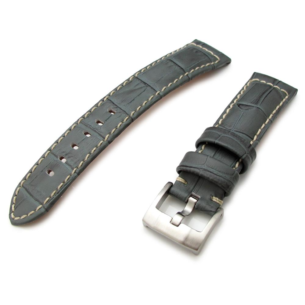 20mm 23mm 24mm CrocoCalf (Croco Grain) Light Grey Watch Strap with Beige St. Strapcode Watch Bands