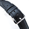 CrocoCalf (Croco Grain) Matte Black Semi-Curved Watch strap Black Stitching P Strapcode Watch Bands