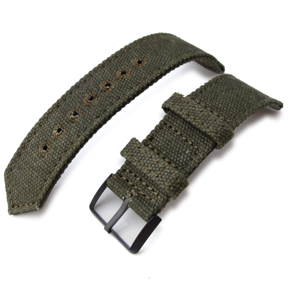 20mm 21mm or 22mm MiLTAT WW2 2-piece Military Green Washed Canvas Watch Band with lockstitch round hole PVD Black Strapcode Watch Bands