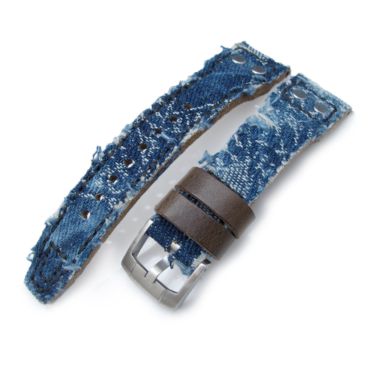 21mm 22mm MiLTAT Heavy Distressed Blue Denim Watch Strap Rivet Military strap Strapcode Watch Bands