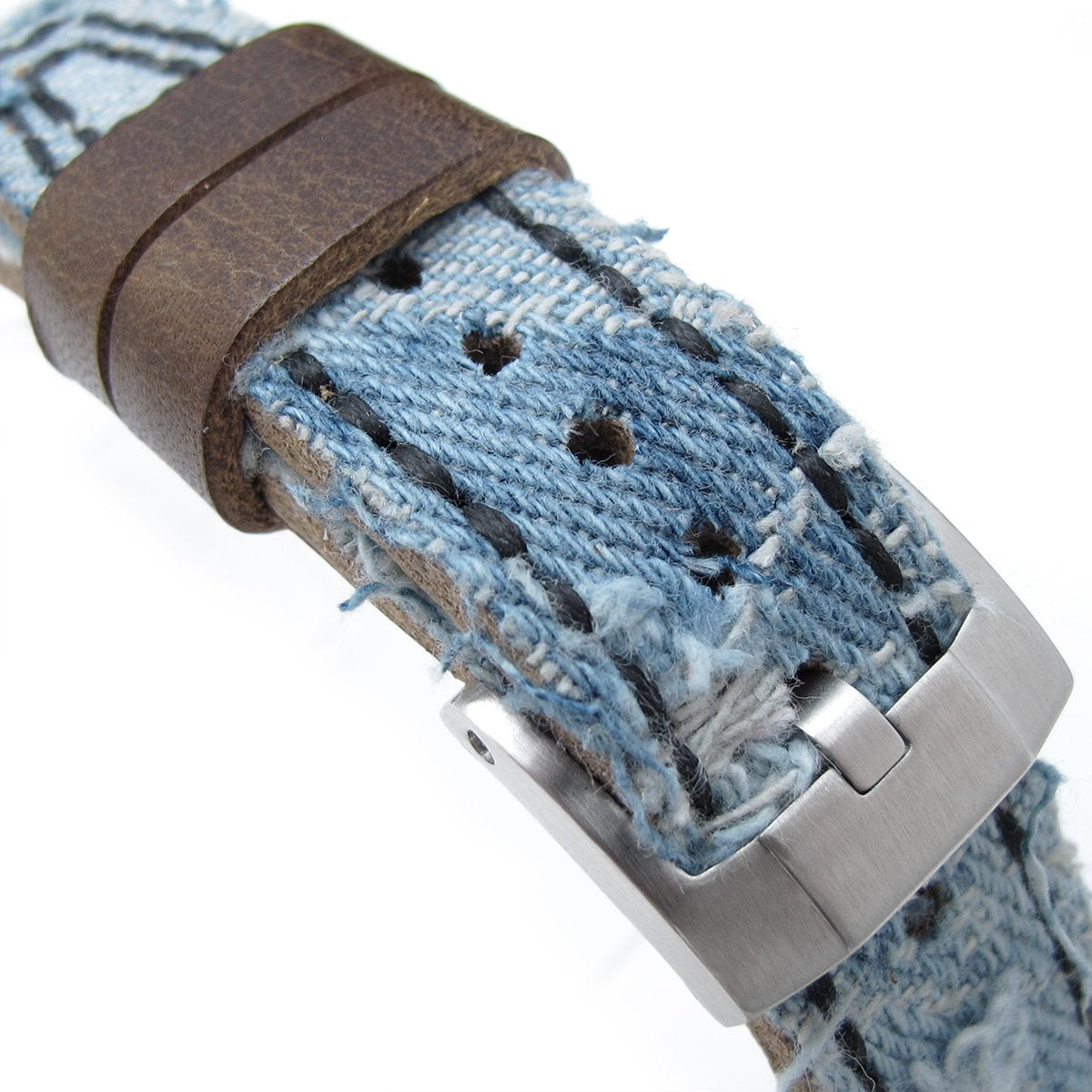 21mm 22mm MiLTAT Distressed Light Blue Denim Watch Strap Rivet Military strap Strapcode Watch Bands