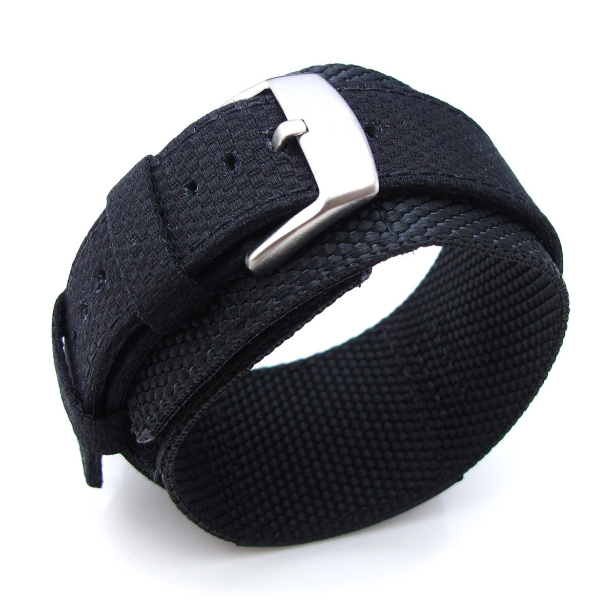 MiLTAT 21mm Double Layer Nylon Black Tactical Velcro Watch Strap Strapcode Watch Bands