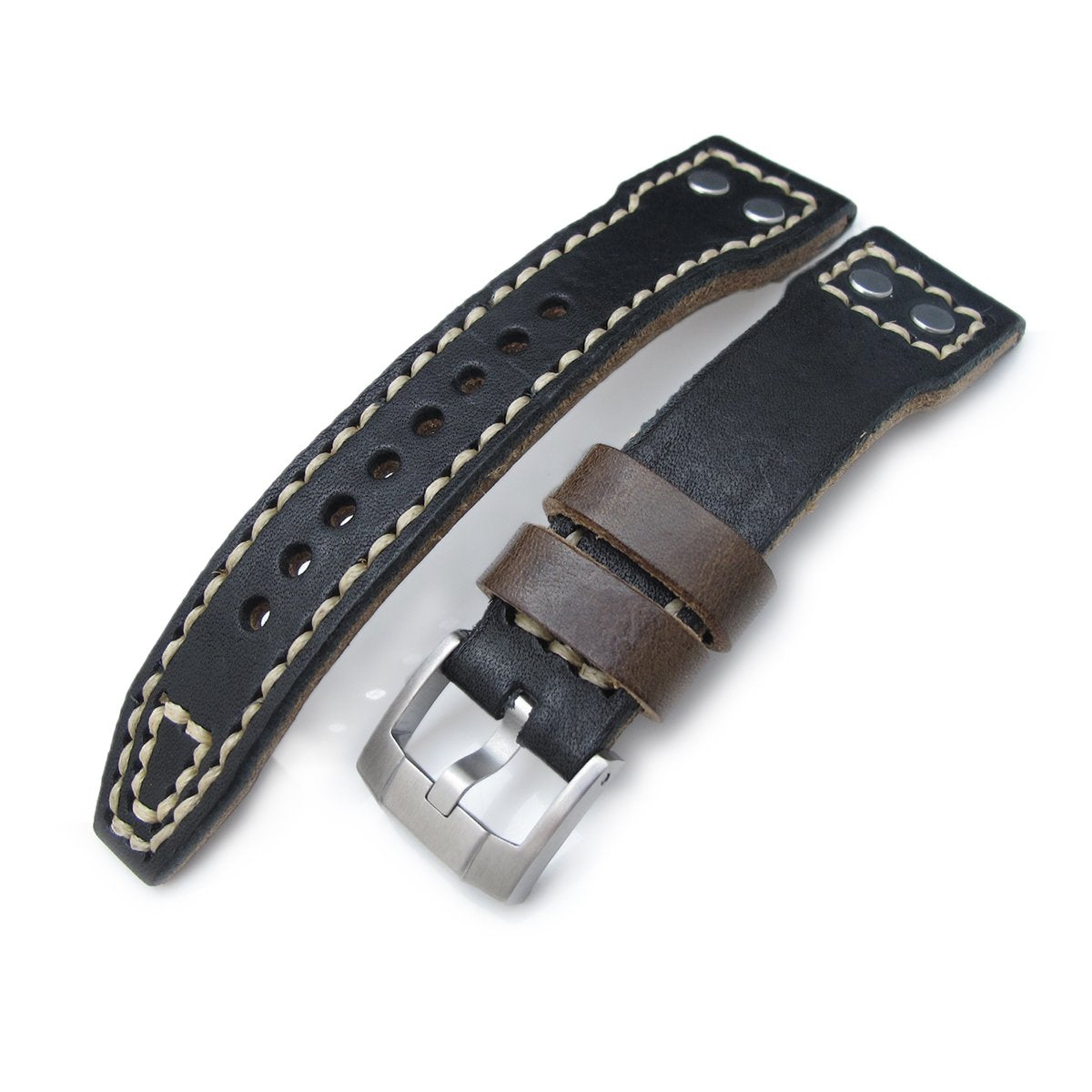 21mm 22mm MiLTAT Black Pull Up Aniline Italian Leather Watch Strap Rivet Military strap Strapcode Watch Bands