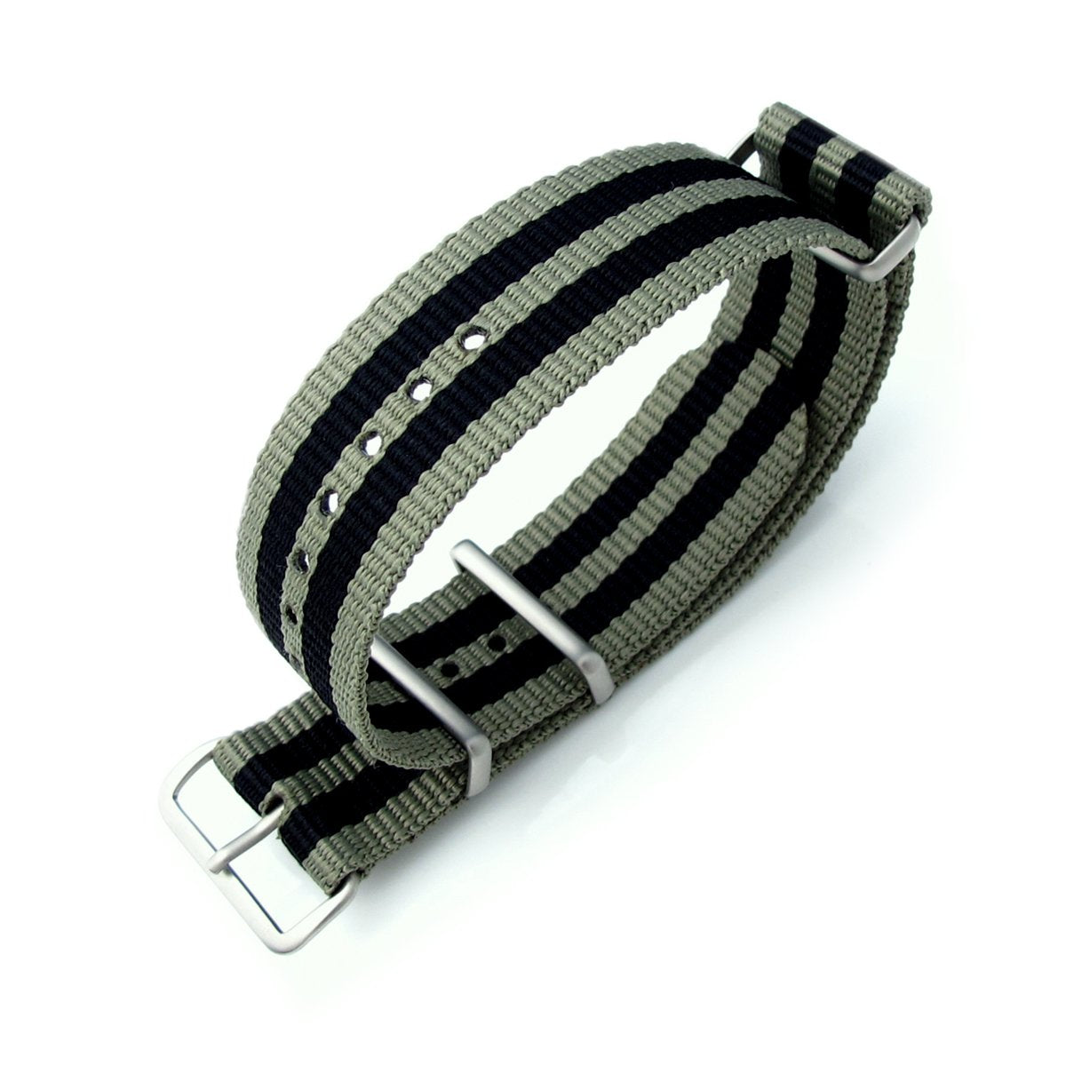 MiLTAT 20mm 21mm or 22mm G10 NATO Military Watch Strap Ballistic Nylon Armband Brushed Military Green & Black Strapcode Watch Bands