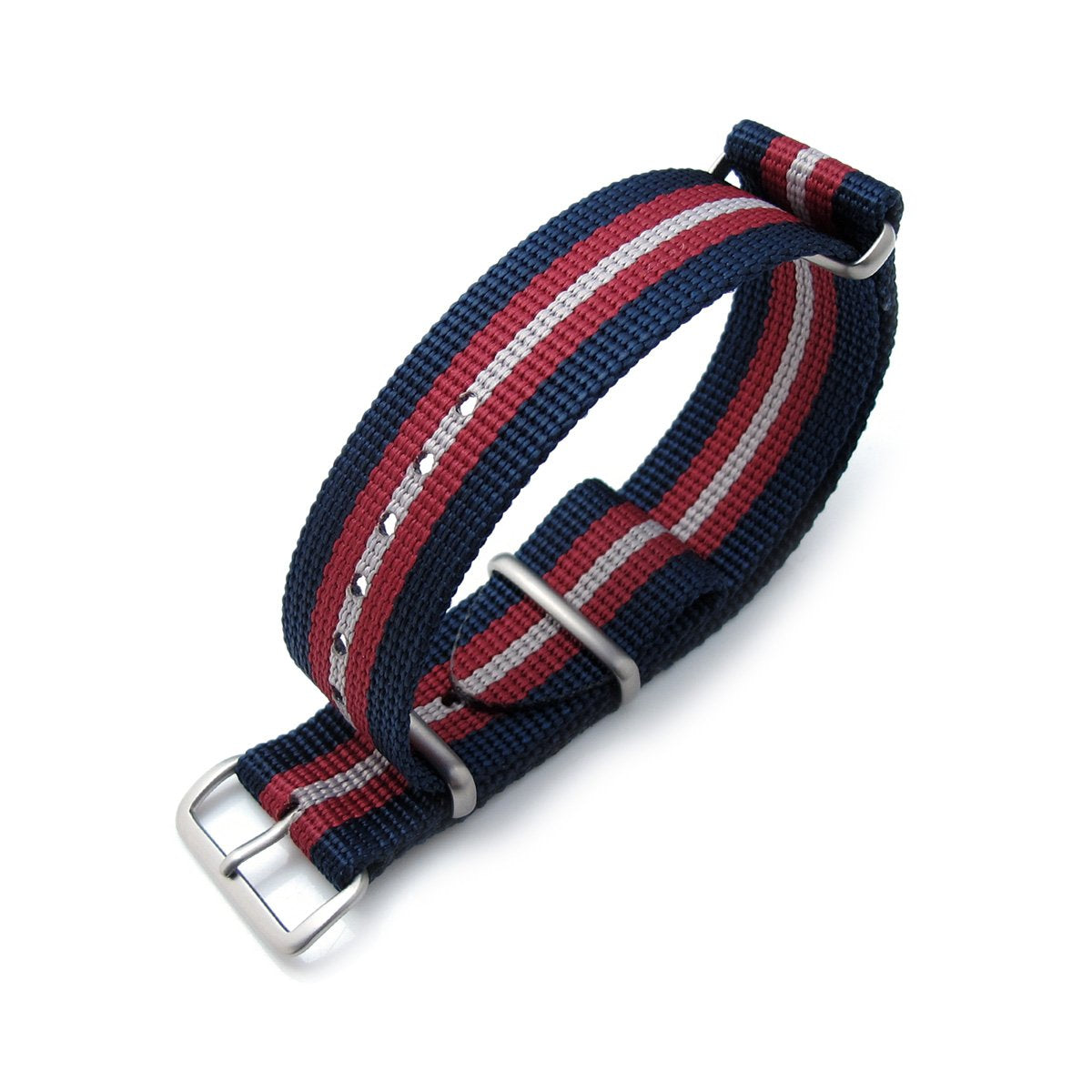 MiLTAT 20mm 21mm or 22mm G10 NATO Bullet Tail Watch Strap Ballistic Nylon Brushed Blue Red & Grey Stripes Strapcode Watch Bands