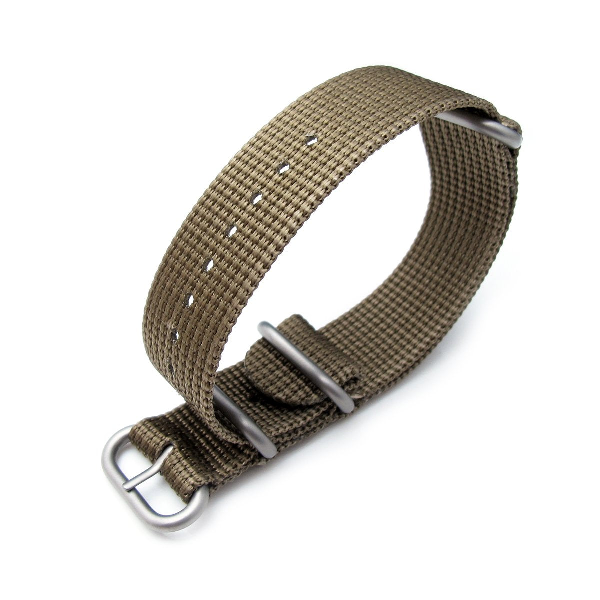 MiLTAT 20mm 22mm or 24mm 3 Rings Zulu military watch strap 3D woven nylon armband Khaki Brushed Hardware Strapcode Watch Bands