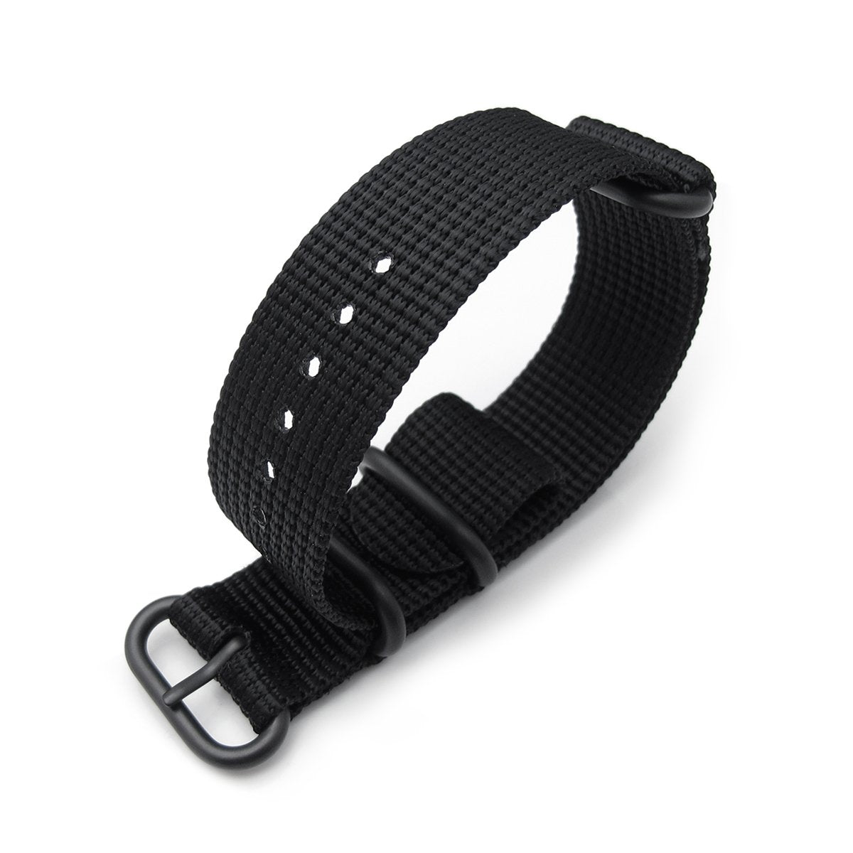 MiLTAT 3 Rings Zulu military watch strap 3D woven nylon armband Black PVD Black 18mm to 26mm Strapcode Watch Bands