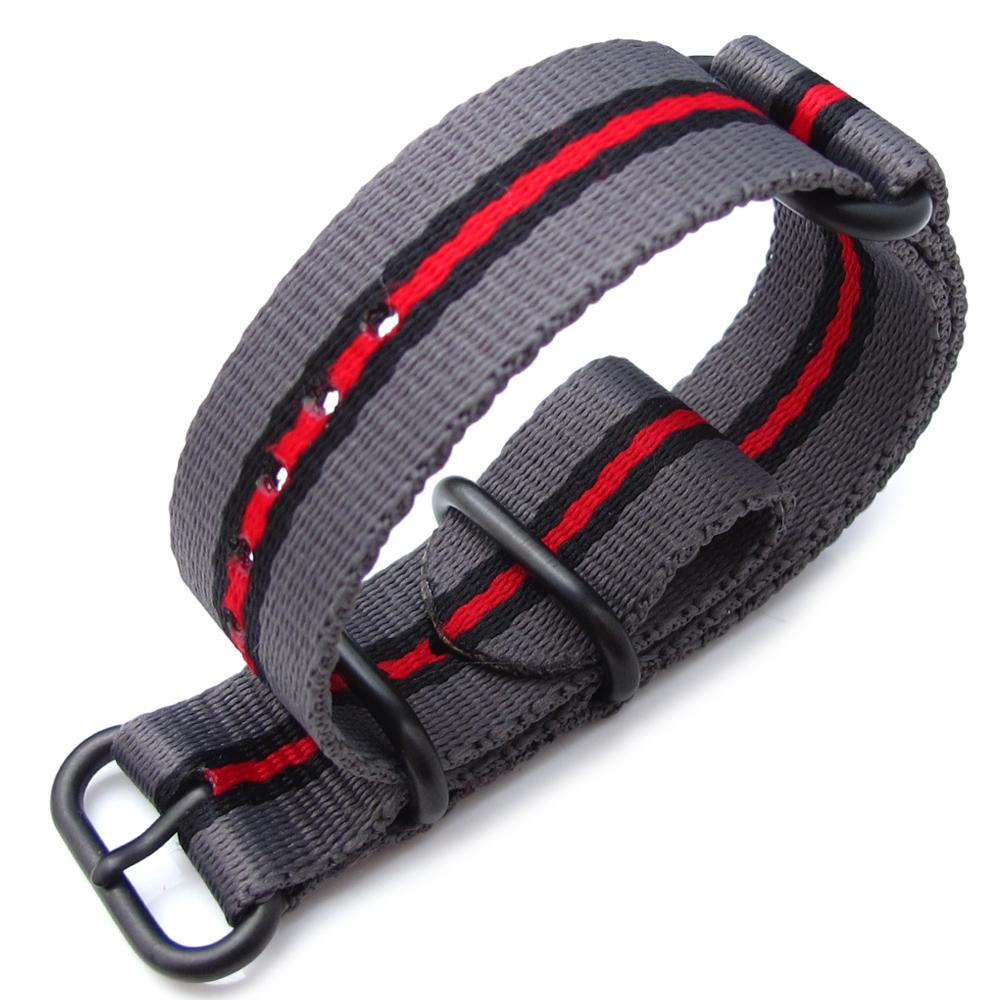 MiLTAT 20mm 22mm or 24mm 3 Rings Zulu JB military watch strap ballistic nylon armband Grey Black & Red PVD Black Hardware Strapcode Watch Bands