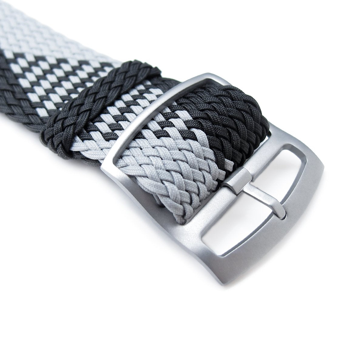 20 22mm MiLTAT Perlon Watch Strap Black & Light Grey Sandblasted Ladder Lock Slider Buckle Strapcode Watch Bands