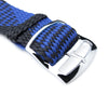 20 22mm MiLTAT Perlon Watch Strap Black & Blue Polished Ladder Lock Slider Buckle Strapcode Watch Bands